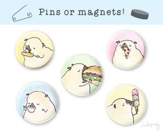 Treat Pug Magnets or Pins by Inkpug