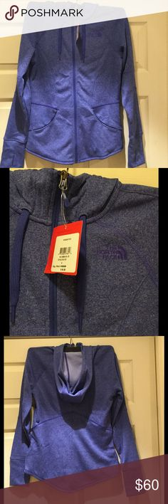 NWT The North Face W B Bossi Hoodie Jacket Awesome fitted zip up hoodie in Tech Blue Heather. Long sleeves with thumb holes and hood with drawstrings.  Also available in Prussian blue heather (teal). The North Face Jackets & Coats