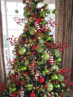 Lime Green Red White Stripe Christmas Tree These Are The Colors