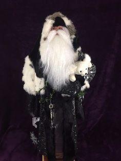 "34"" Handmade Victorian Father Christmas Large Silver, Black & White Santa Doll   eBay"