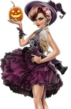 Sorcière & citrouille : tube Halloween - rose - Bruja png