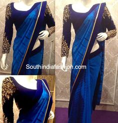 blue chiffon Saree with blue border and full hands blouse with subtle embroidery