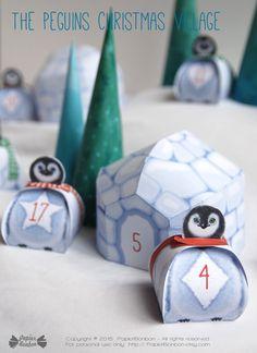 Advent Calendar The Penguins Xmas Village - A Papier Bonbon Printable