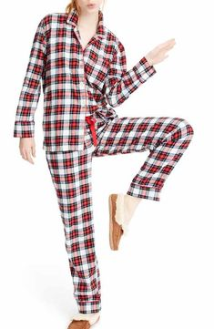 81fed68e0057f J.Crew Whiteout Plaid Flannel Pajamas Tartan Plaid