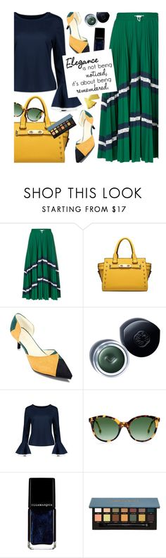 """Pleated Skirt"" by beebeely-look ❤ liked on Polyvore featuring Valentino, Shiseido, Rebecca Taylor, Illamasqua, pleated, streetwear, StreetChic, rosegal and bellsleeves"