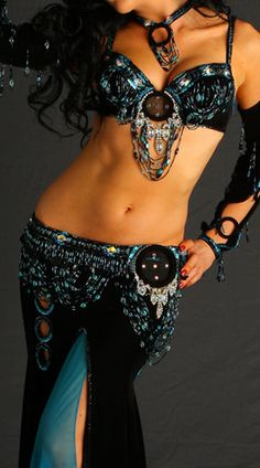 Black and teal belly dance costume