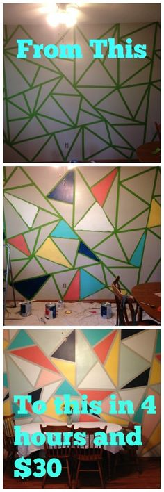 How to paint an easy triangle wall mural, in 4 hours for less than $30.