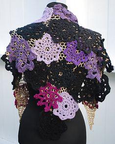 Ravelry: Scrap yarn shawl pattern by Julie Berg Crochet Motif, Crochet Shawl, Crochet Hooks, Shades Of Purple, Light Shades, Chrochet, Light In The Dark, Ravelry, Scrap
