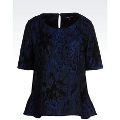 Emporio Armani Blouse ($445) ❤ liked on Polyvore featuring tops, blouses, dark blue, blue blouse, emporio armani and blue top