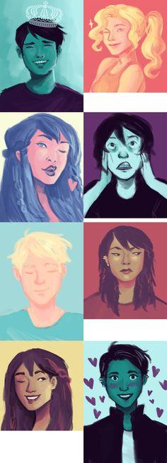 Percy Jackson, Annabeth Chase, Piper McLean, Nico di Angelo & Luke Castellan   art by hahahaidadraws   Artwork