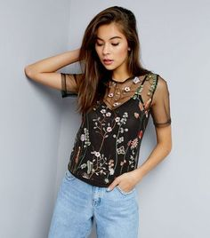 Black Floral Embroidered Mesh Top