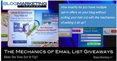 How do you deliver an ebook or other giveaway as an opt-in offer to build your list? And, how do you manage offering multiple ones without multiple lists? Here we discuss the actual mechanics of delivering opt-in giveaway offers. Several different methods are discussed. http://www.blogmarketingacademy.com/email-list-giveaways/