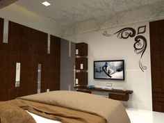 Bedroom Tv Unit Design, Tv In Bedroom, Wall Tv, Center Table, Best Tv, Windows And Doors, Living Room Designs, The Unit, House Design