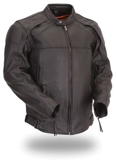 6398d9eea9fe Mens Black Leather Scooter Jacket Reflective Piping Zip Out Thermal Liner