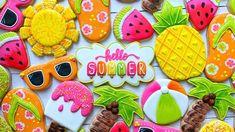 Sugar Cookie Royal Icing, Iced Sugar Cookies, Cake Cookies, Cupcakes, Cookie Tray, Cookie Cutters, Summer Cookies, Summer Time, Summer Set