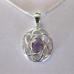 Sterling Silver Celtic Pendent w/Oval Shaped Natural Amethyst (Thailand) | Overstock.com