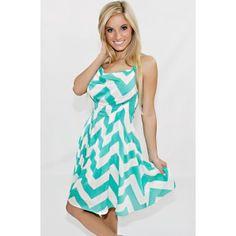 Style Me Pretty Chevron Dress In Mint