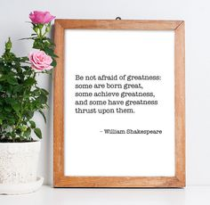 Home Decor Printable Poster Quote by William Shakespeare – Digital Art Wall Decor, Inspirational Famous Quote Print *INSTANT DOWNLOAD*