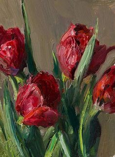 Red tulips A Daily painting by Julian Merrow-Smith Tulip Painting, Oil Painting Flowers, Acrylic Flowers, Abstract Flowers, Gold Wall Art, Canvas Wall Art, Dream Catcher Canvas, Art Pierre, Realistic Oil Painting