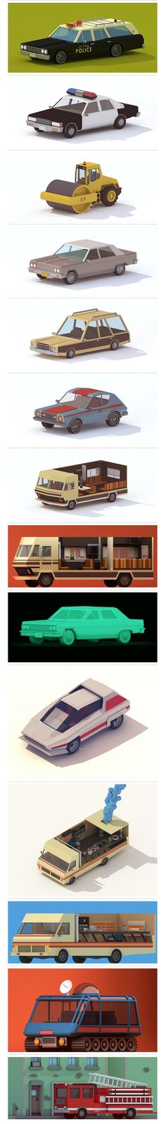 Carsvehicles. Low poly. Michiel van den Berg
