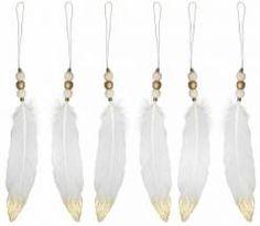 INGE-GLAS® Deko-Hänger, 6-teilig, »Feder«, weiß, weiß/goldfarben