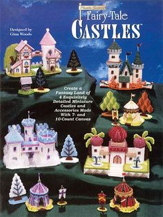 "Every princess needs her own plastic canvas castle!   Create a fantasy land of 4 exquisitely detailed miniature castles and accessories made with 7- and 10-count plastic canvas. Sizes: Knights' Castle is 4 3/4"" x 7 3/4"" x 7 3/4"" tall; Ladies' Castle is 5"" x 8 1/2"" x 6 3/4"" tall; Winter Ice Palace is 6 7/8"" square x 6 1/4"" tall; Arabian Tents are 3"" x 3"" x 4 1/4"" tall."