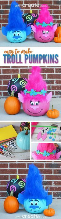 Troll Pumpkins will make you want to sing and dance this Halloween!  via @CraftCreatCook1