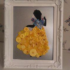 Snow white button art #clairescraftboutique