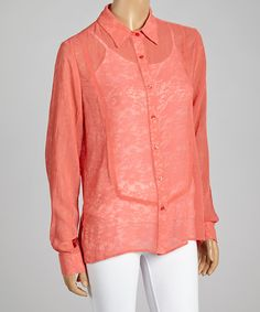 Coral Floral Lace Button-Up Top