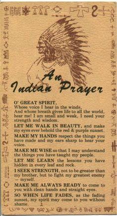 Native Indian Prayer.