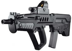 """TAVOR TAR C21, The T.A.R. 21 is an Israeli bullpup assault rifle chambered for 5.56x45mm NATO ammunition with a selective fire system, selecting between semi-automatic mode, burst mode, and full automatic fire mode. The name """"T.A.R. 21"""" stands for """"Tavor Assault Rifle - 21st Century"""". Wish you could get these in semi-auto I think they are the best bullpup design lead delivery system on the market."""