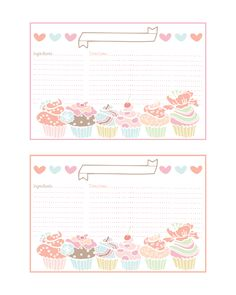 Cupcake Recipe Cards, Free Printable...these are adorable!