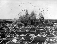 An bomb exploding in Shanghai during a Japanese air raid, 1937