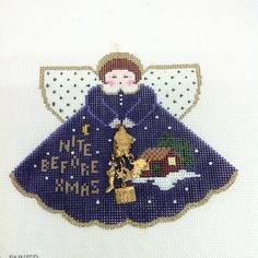 Painted Pony Designs Nite Before Xmas Angel 930 Hand Painted Needlepoint Canvas   eBay