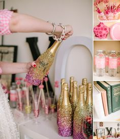 DIY New Years Eve Party Ideas-Glitter champagne bottles. Here are some DIY New Years Eve party ideas. Glitter it up! Get the party started with sparkling glitter on just about anything and everything. Deco Nouvel An, Glitter Champagne Bottles, Pink Champagne, Champagne Gifts, Cheap Champagne, Champagne Birthday, Gold Bottles, Champagne Toast, Mini Bottles