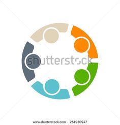 Team five people logo. Concept of group of people meeting collaboration and great work.