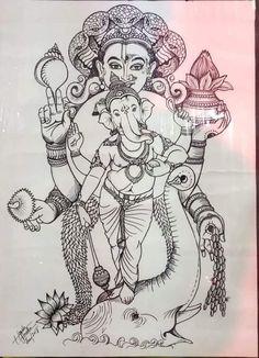 Ganesha Drawing, Ganesha Painting, Ganesha Art, Ganesh Idol, Arte Shiva, Mysore Painting, Cat Pokemon, Indian Traditional Paintings, Ganesh Chaturthi Images