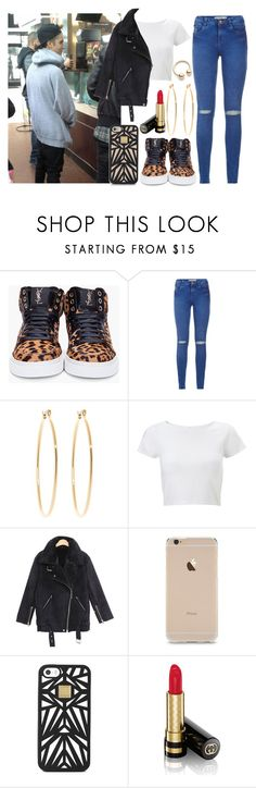 """Dinner with my Babe."" by alejandramalagon ❤ liked on Polyvore featuring Justin Bieber, Yves Saint Laurent, Brooks Brothers, Lipsy, Hervé Léger and Gucci"