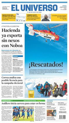 Portada de #DiarioELUNIVERSO del 3 de enero del 2014. Las #noticias del día en: www.eluniverso.com #Ecuador