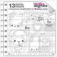 Love Stamps, 80%OFF, Commercial Use, Digi Stamp, Digital Image, Love Digistamp, Coloring Page, Valentines Day Stamps, Planner Girl Digistamp