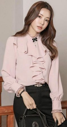 StyleOnme_Lace Trim Ruffle Puff Sleeve Blouse Source by Blouses K Fashion, Hijab Fashion, Fashion Dresses, Fashion Design, Fashion Styles, Womens Fashion, Blouse Styles, Blouse Designs, Bluse Outfit