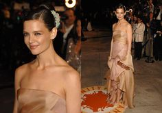one of my all-time faves. Katie Holmes at an Oscars Vanity Fair party. Not sure what year it was who the designer was, but the peach/nude dress was beautiful, and so were the minty-colored gem headpieces in her hair. Perfection.