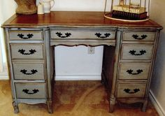 French Desk painted with Chalk Paint. I wish that I still had my desk like this. It had the same design but different colors.