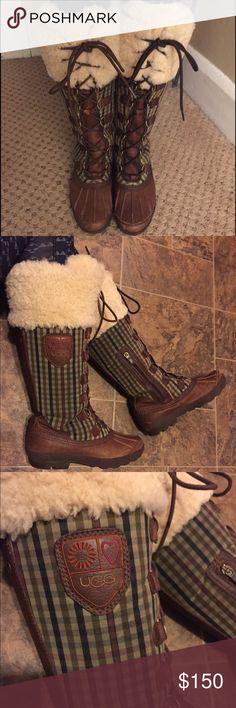 UGG Edmonton snow boots authentic! VGUC; lace-up with zippers inside for easy on/off; authentic!! Small scuffs around toes; worn a couple seasons; just got myself a new pair and want to give these beauties a new home 🤗 size 7.5; true to size; knee high and laces make it easy to adjust to different calf sizes UGG Shoes Winter & Rain Boots