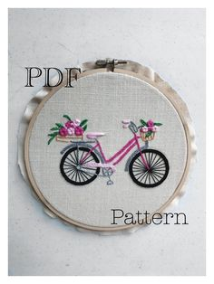 Beginner Hand Embroidery Bicycle, Pattern Stitch, Pattern PDF, DIY - Bell Tutorial and Ideas Hand Embroidery Flowers, Embroidery Hoop Art, Hand Embroidery Patterns, Ribbon Embroidery, Embroidery Stitches, Machine Embroidery, Embroidery For Beginners, Embroidery Techniques, Contemporary Embroidery