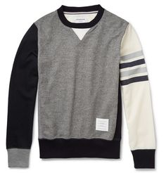 Thom Browne Colour-Block Wool-Jersey Sweatshirt | MR PORTER