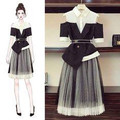 Fashion Drawing Dresses, Fashion Illustration Dresses, Fashion Dresses, Korean Girl Fashion, Korean Fashion Trends, Look Fashion, Kpop Fashion Outfits, Mode Outfits, Fashion Design Drawings