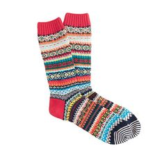 "The socks from Tokyo-based Chup are limited edition (seriously, the company makes only a handful of pairs each day) with intricate patterns inspired by folk art and the spirit world. Chup, an acronym for ""Classical Human's Universal Peace,"" refers to the sun, the moon and the stars in the sky, all of which the Ainu (Japan's native people) worshipped. <ul><li>Cotton/acrylic/nylon with a hint of stretch.</li><li>Machine wash.</li><li>Made in Japan.</li></ul>"