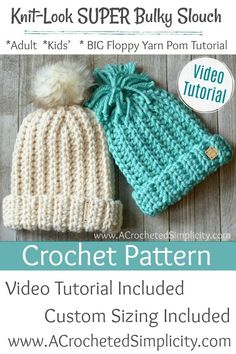 Free Crochet Pattern & Video Tutorial - Knit-Look Super Bulky Slouch by A Crocheted Simplicity