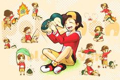 Boy Player (SS/HG) and Cyndaquil ;u;
